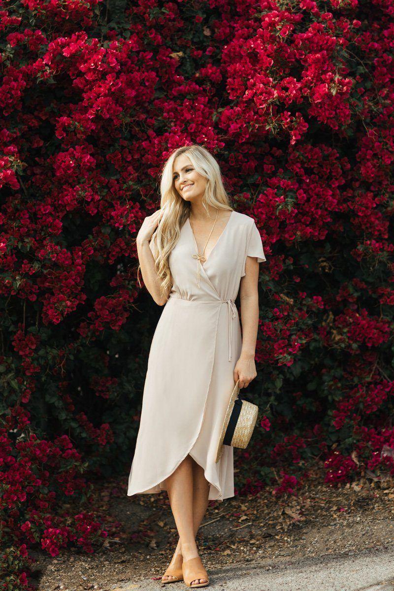 2d2cc0e78c Lynette Blush-Nude Wrap Dress in 2019