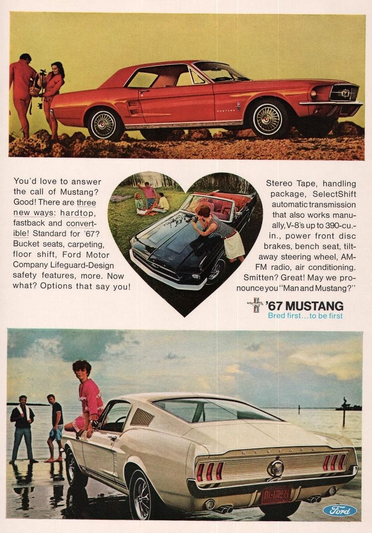 1967 Ford Mustang Fastback Heart Bred First Ad Adaholic Car Ads Mustang Ford Mustang