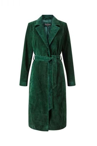 A rich alternative to the obvious festive red.. we're all about dramatic green shades. Green Suede Trench Coat by Miss Selfridge