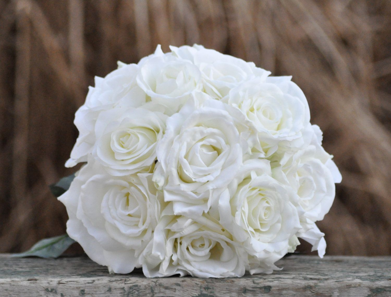 Wedding Bouquet Keepsake Bridal White Rose Made Of Silk Roses