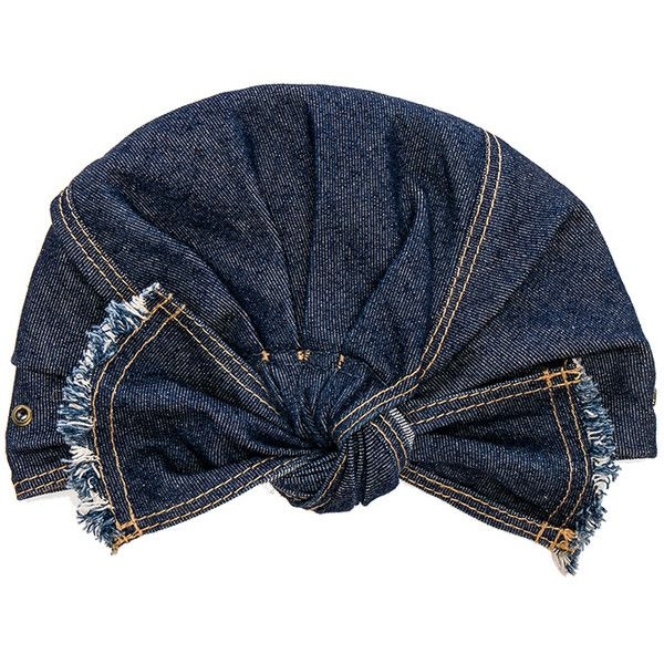 Lola Hats for FWRD Denim Turban ($190) ❤ liked on Polyvore featuring accessories, hats, knot hat, lola hats, turban hat and denim hats