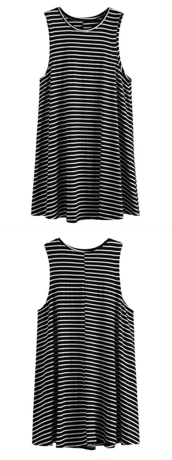 Casual dresses neiman marcus women loose sleeveless round neck