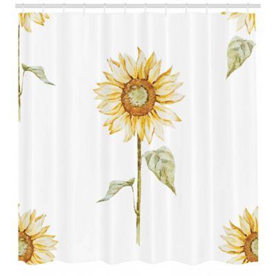 Sunflower Shower Curtain In Yellow Green Sunflower Decor Yellow