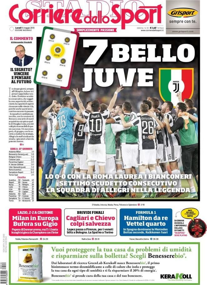 Prima Pagina Corriere dello Sport 14/05/2018 Sport
