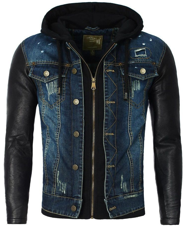 Y R Men Stylish Distressed Denim Hoodie Jacket Faux Leather Sleeves - Blue 3c6cd449d6