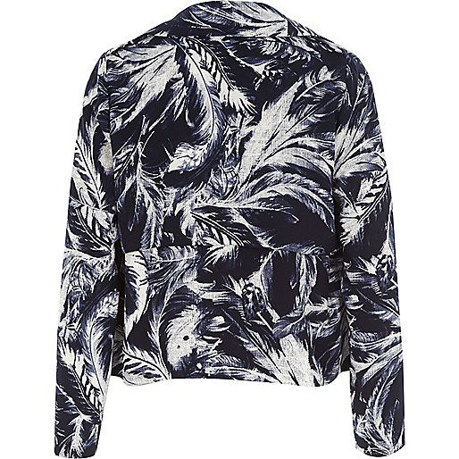 Navy feather print draped cropped jacket - jackets - coats / jackets - women
