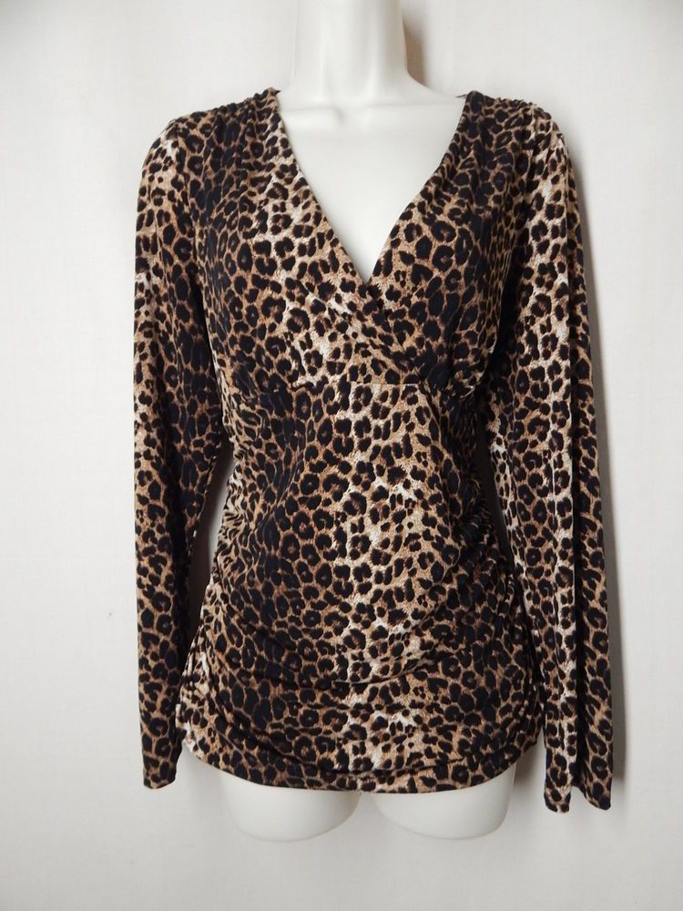 1c248488cd9f INC Size L Leopard Print Long Sleeve Ruched Cross Front Stretch Top  INC   Blouse