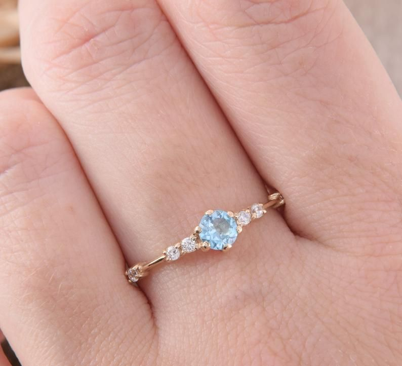 minimalist engagement ring yellow gold ethically sourced marquise ring 10kt Dainty white sapphire promise ring