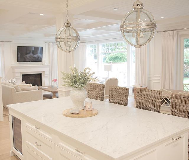 Neutral decor, hamptons style, coastal style, white kitchen, marble ...