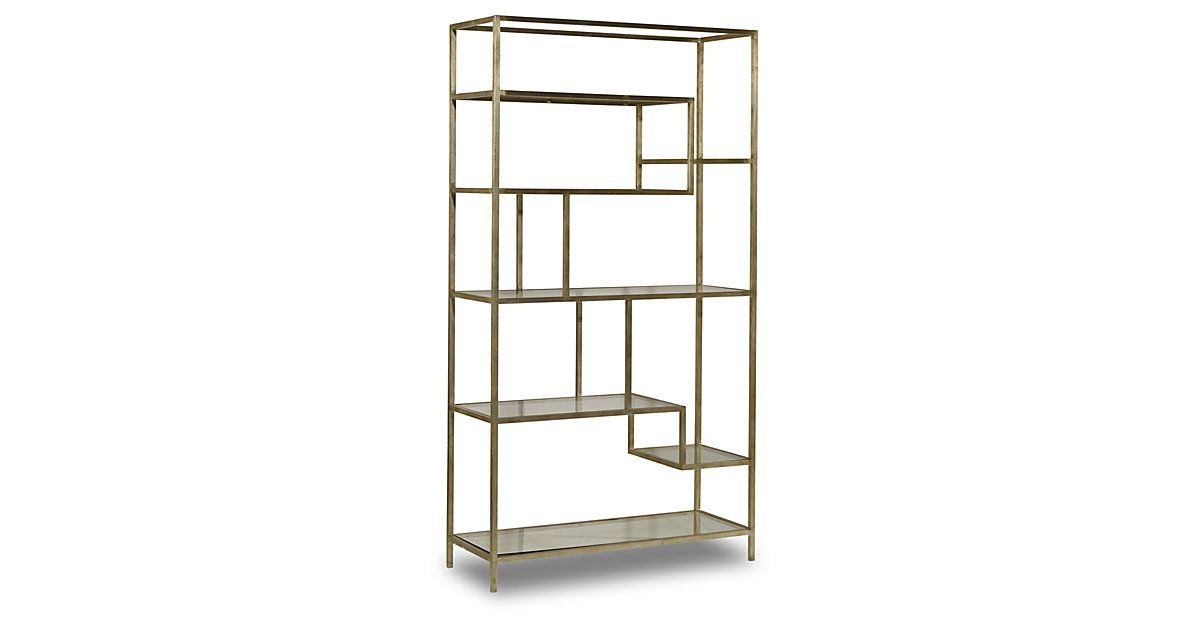 Beautifully scaled and finished in a sleek golden hue, this contemporary étagère features a network of gridded glass shelves set in a sturdy iron frame.