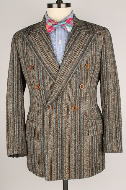 Vtg TWEED Reynolds Penland Double Breasted Grey by ThePlaidBowTie