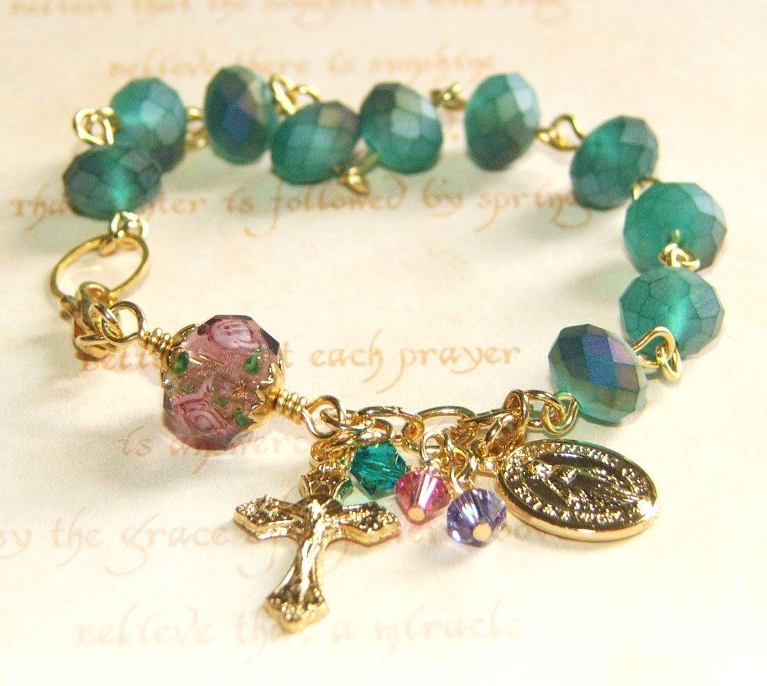 Rosary bracelet catholic jewelry frosty green crystal beads