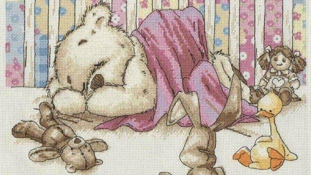 Schema punto croce orsetto con giochi hobby lavori for Schema punto croce orsetto