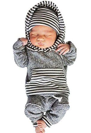 aadfcd0b402e Amazon.com  Newborn Baby Boy Girl Warm Hoodie T-shirt Top + Pants ...