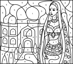 Hard Color by Number Pages  Princess of India  Printable Color