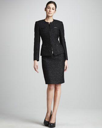 Metallic Tweed Suit By Albert Nipon At Neiman Marcus Work Clothes