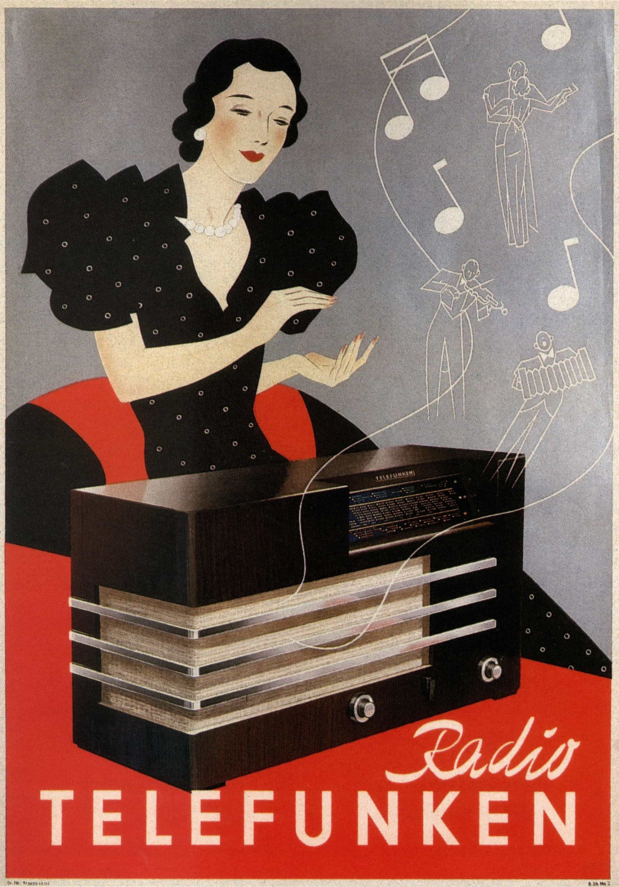 1935 Radio Telefunken Vintage Ad Poster Classic High Resolution Old