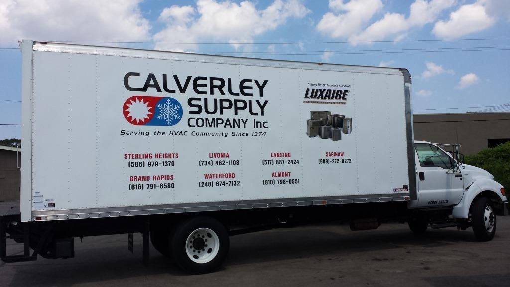 box truck logos and lettering created and installed at calverley supply wrap advertising luxaire hvac hvac car lettering wrap advertising vinyl graphics wrap advertising luxaire hvac