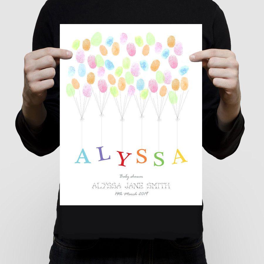 Nom de childs livre personnalisé dempreintes digitales commentaires pour shower de bébé, cérémonie de baptême ou un anniversaire – affiche imprimer, parti de mileston ballons personnalisé