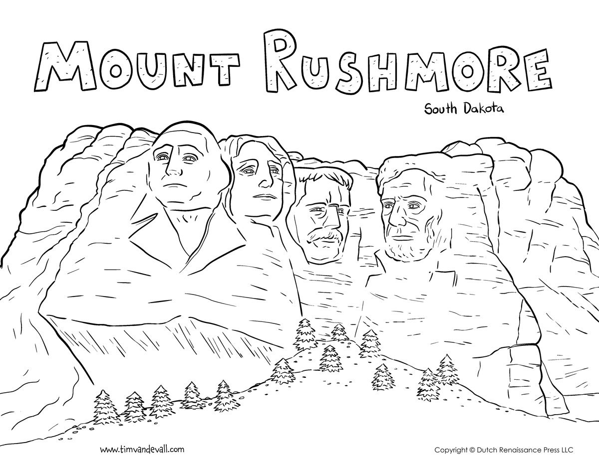 Mount Rushmore Coloring Page Flag Coloring Pages Mount Rushmore