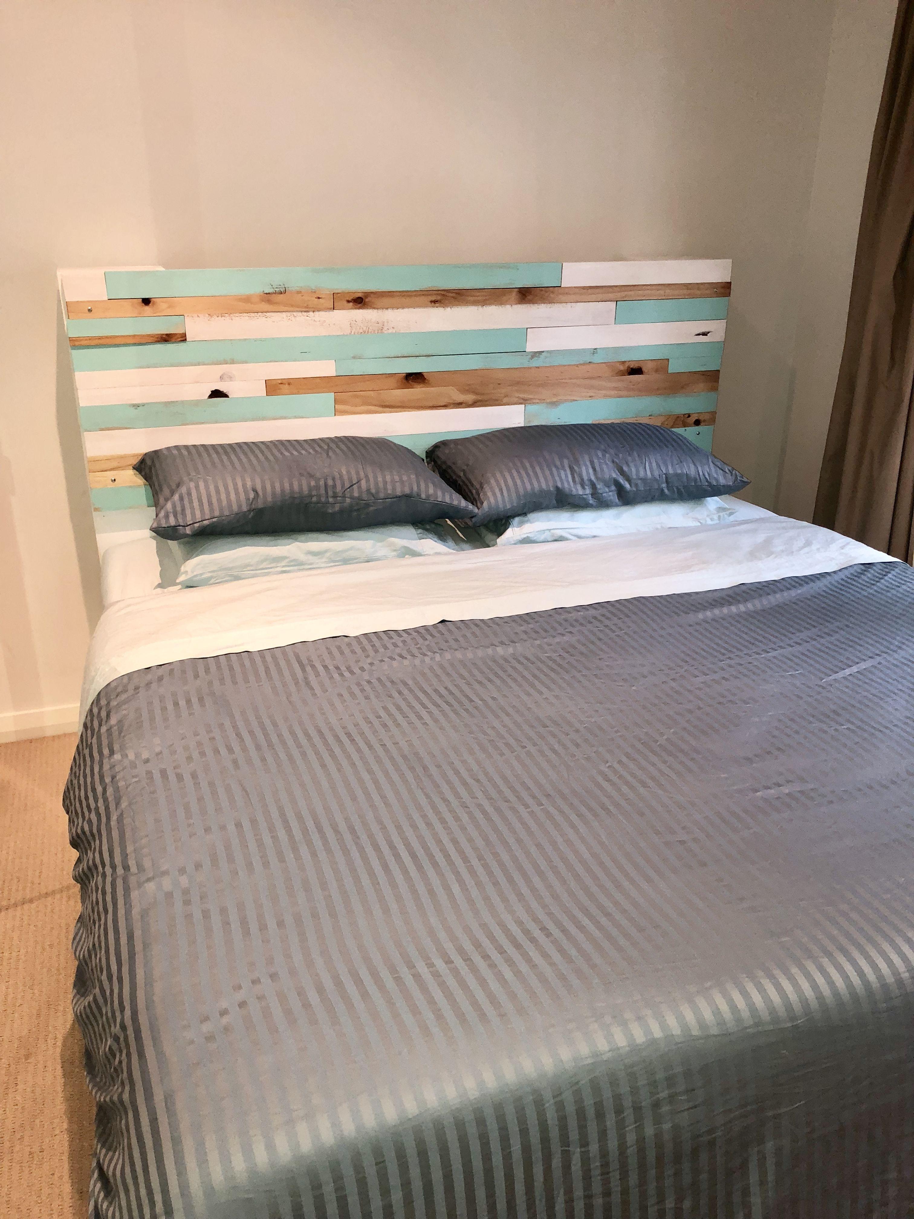 My DIY custom timber headboard Diy bed frame, Pallet