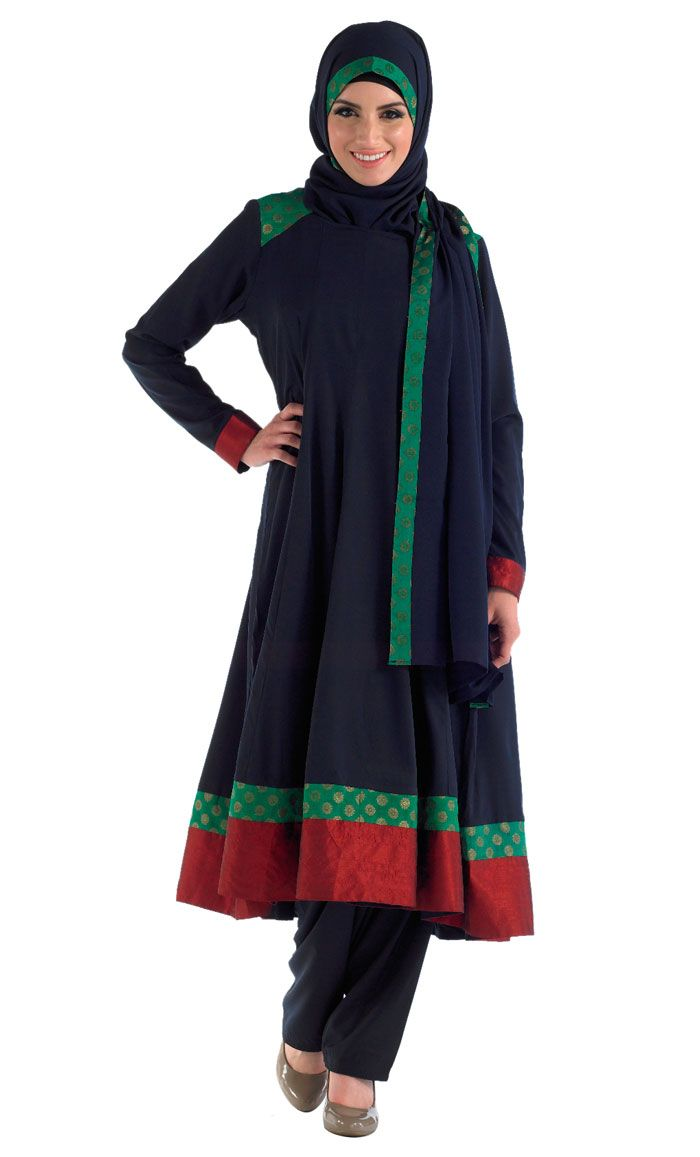 This Navy Salwar Kameez is an all occassion special. Fusion blend of design, ethnic and lined for modesty.