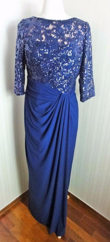 Ralph Lauren Navy Blue Ball Gown Matte Jersey Sequin Dress Size 12