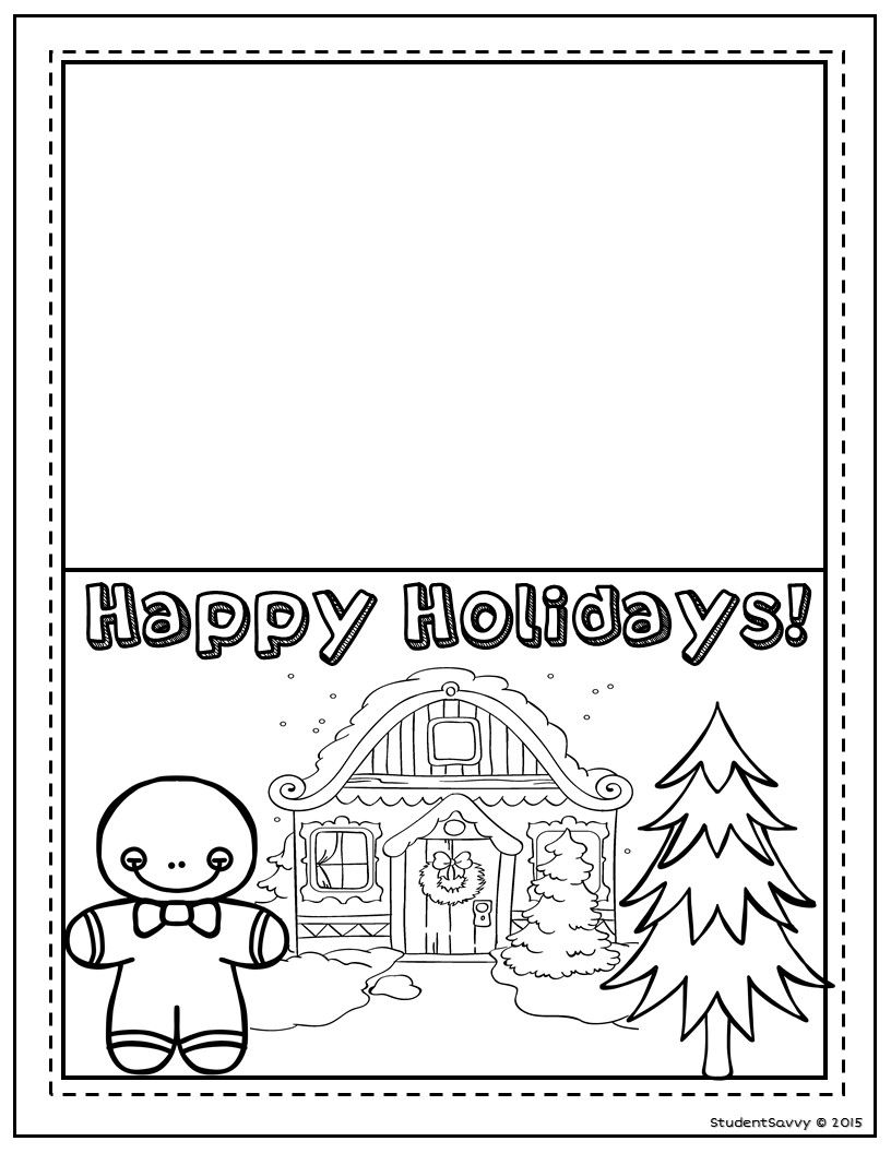 Christmas Cards Freebies Christmas Coloring Cards Christmas Kindergarten Coloring Holiday Cards