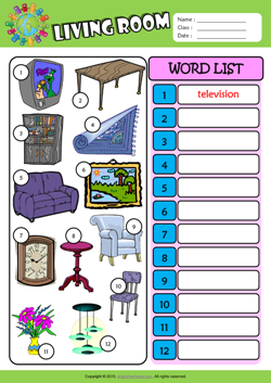 Living Room Write The Words ESL Vocabulary Worksheet Part 44