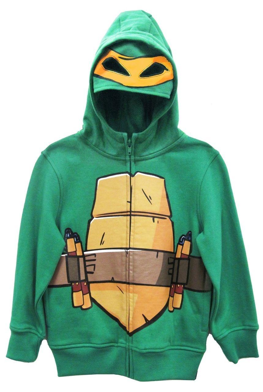 Boys Teenage Mutant Ninja Turtles MICHELANGELO Reptilian Print Costume Hoodie