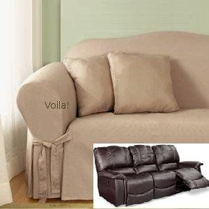 Reclining SOFA Slipcover Cotton Taupe SureFit Recliner Couch Cover