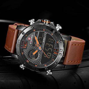 Luxury Leather Quartz LED Digital Clock Waterproof Military Wrist Watch #sportswatches