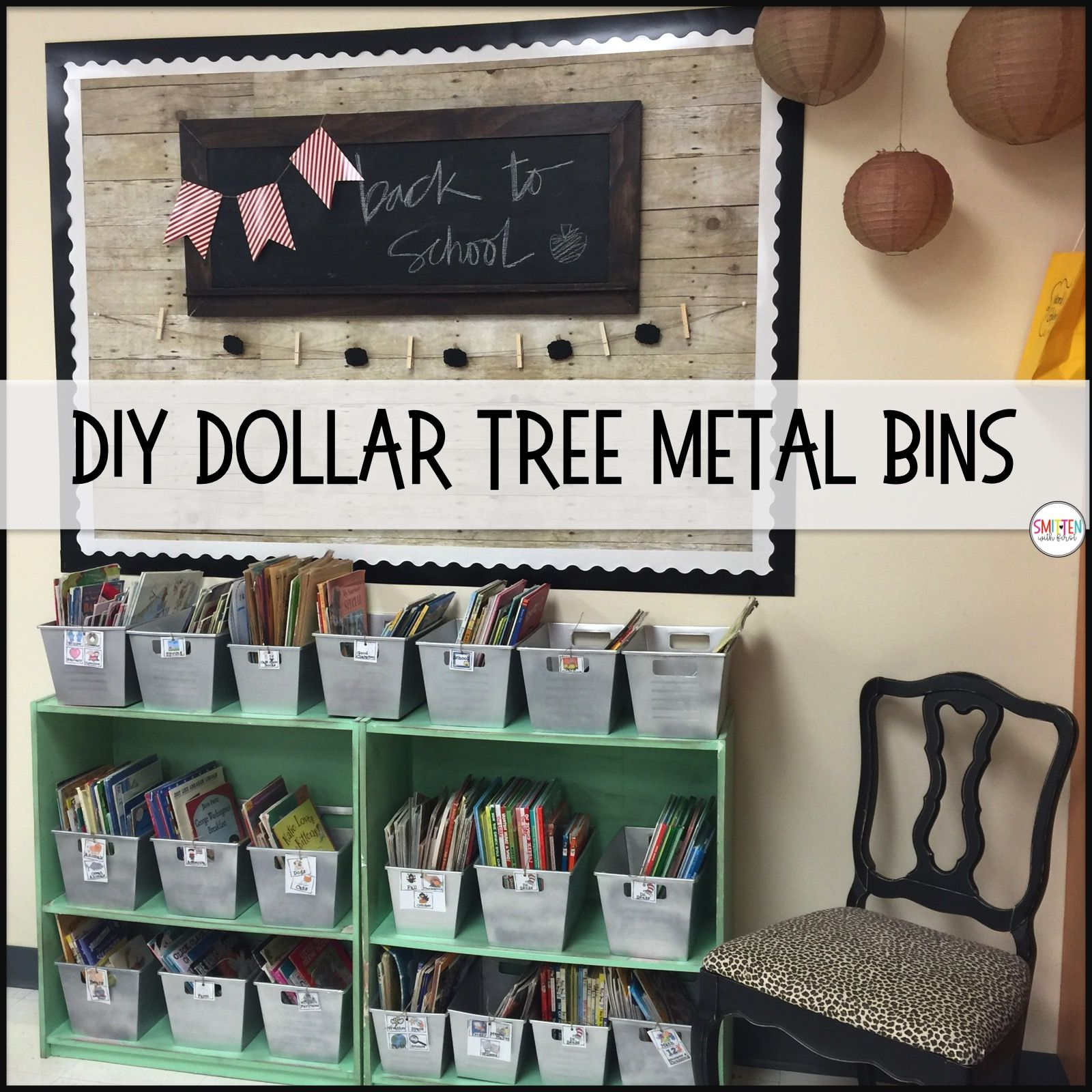 DIY Dollar Tree Metal Locker Bins farmhouse classroom #classroomdecor