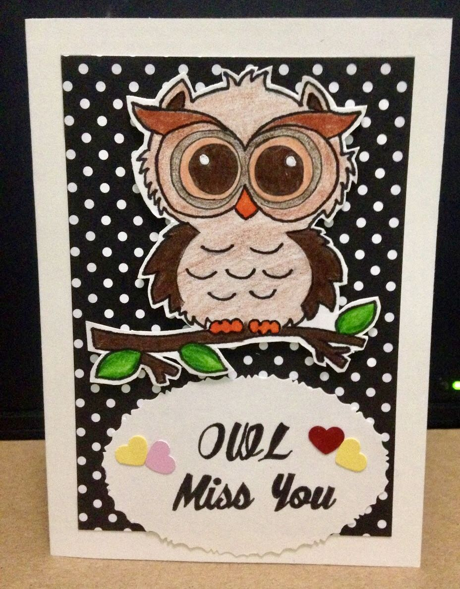 owl i'll miss you greeting card  cards handmade cards
