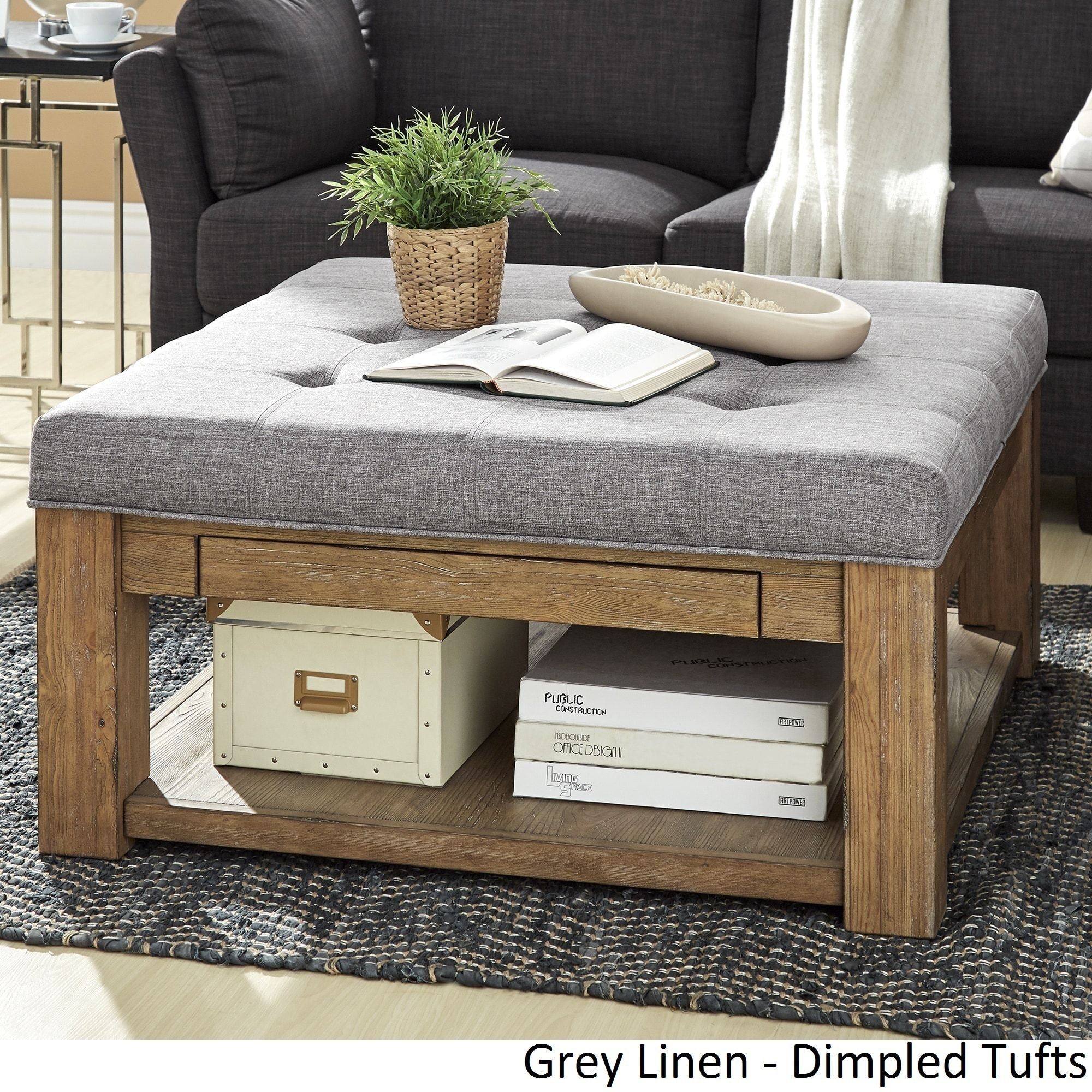 Lennon Pine Square Storage Ottoman Coffee Table by iNSPIRE Q Artisan  ([Beige Linen]- Smooth Top) (Fabric)