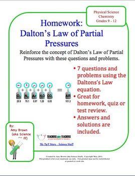 Gas Laws: Dalton's Law of Partial Pressure Homework ...  Gas Laws: Dalto...