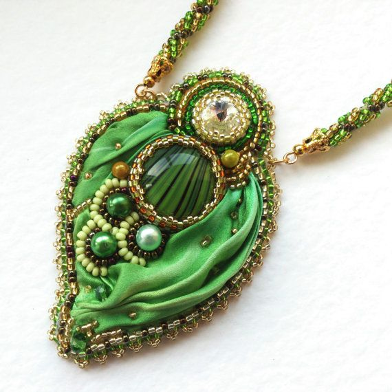 Bead Embroidery Necklace  Bead Embroidered by BespokeInnaDesign