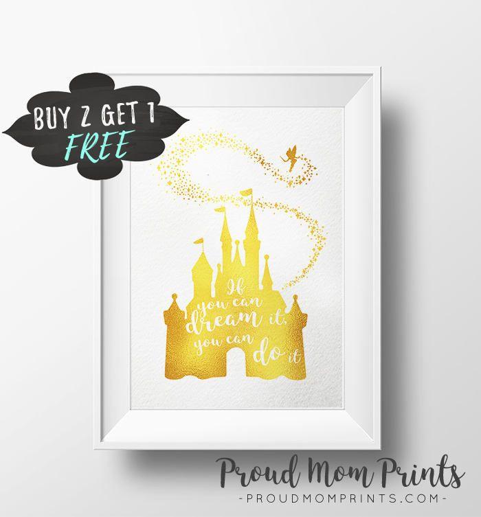 Disney Castle Printable Wall Art, Magic Castle Gold Wall Print ...