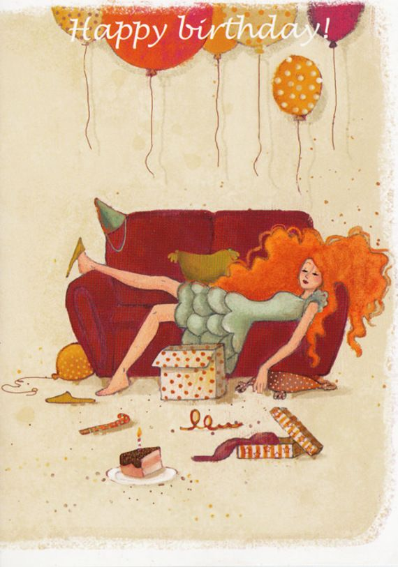 Happy Birthday Red Head On Couch