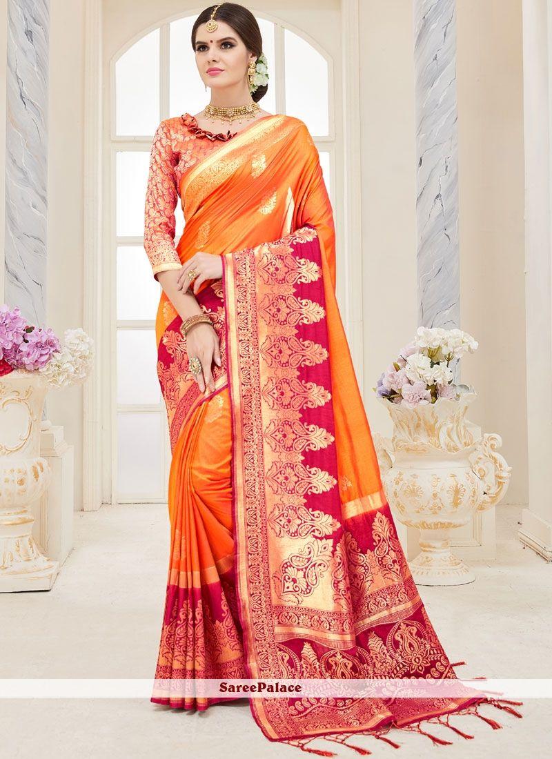 6eecc4f569 Orange Weaving Traditional Designer Saree | Traditional Sarees ...