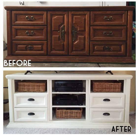 Refurbished Dresser Turned Into Tv Console Annie Sloan Chalk Paint
