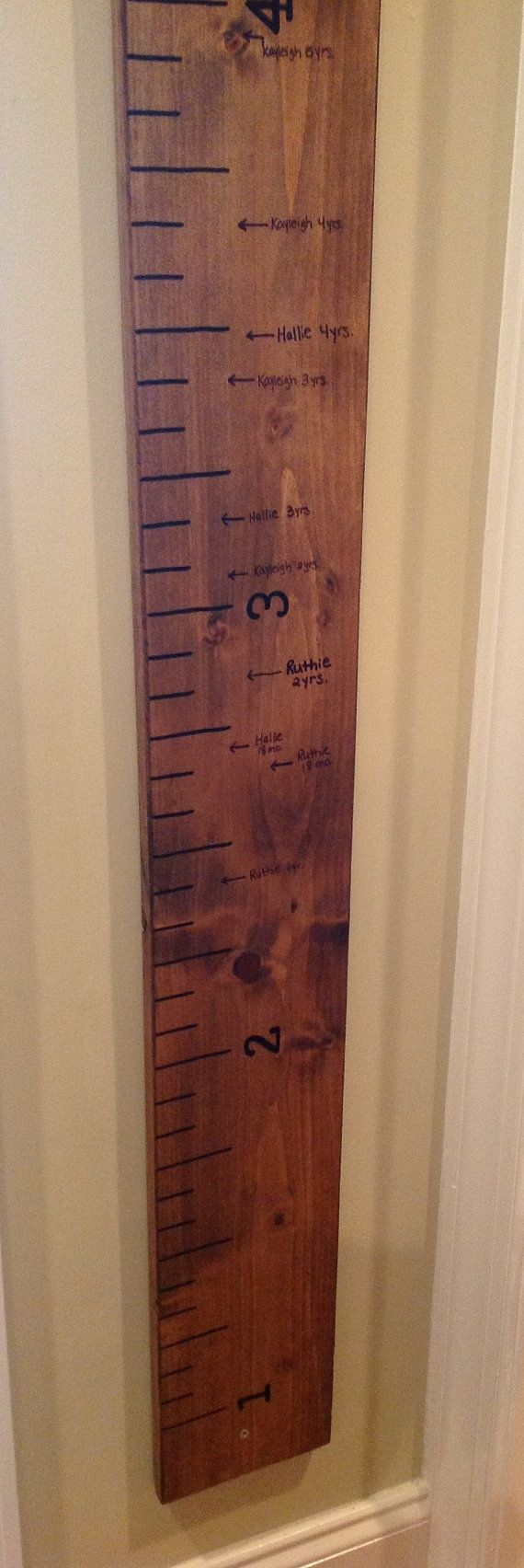 Giant Ruler Family Growth Chart Childrens Measuring Rustic