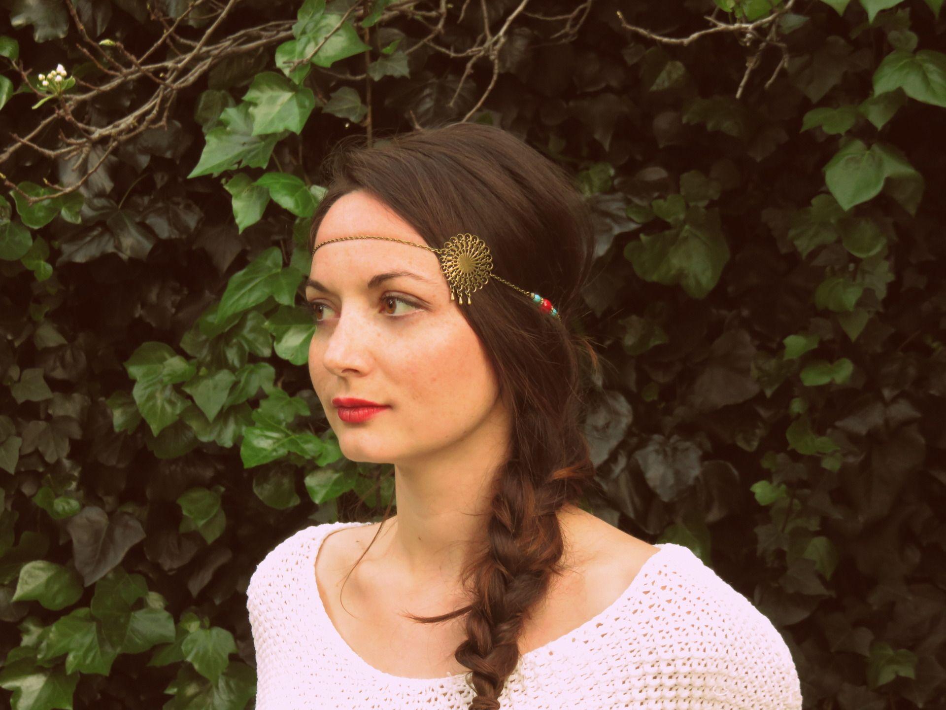 """Headband """"Salomé"""" bohème bronze estampe et chaînes"""