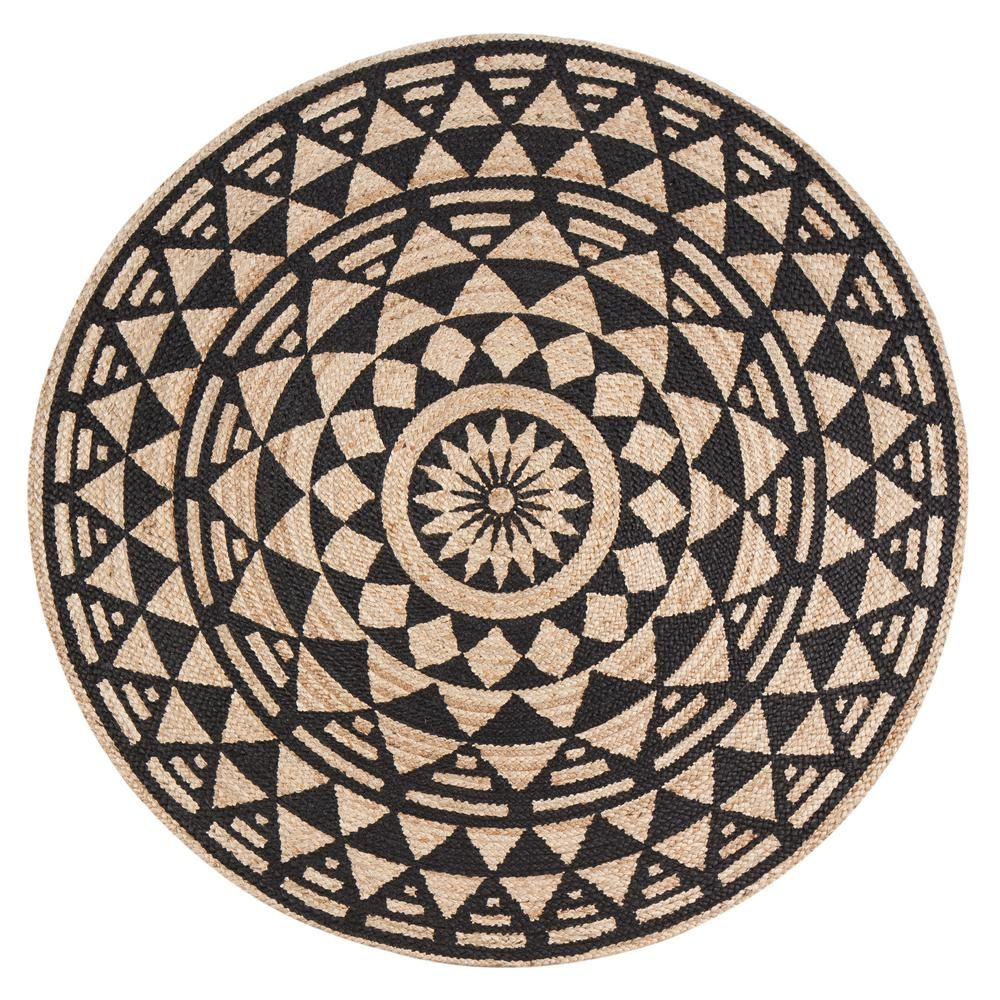 Anji Mountain Tan And Black 6 Ft X 6 Ft Round Area Rug Area