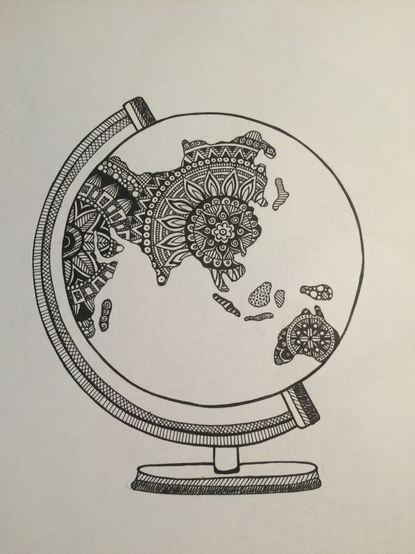 Global World Land Doodle Zentangle Continental Tasarım - Continental global