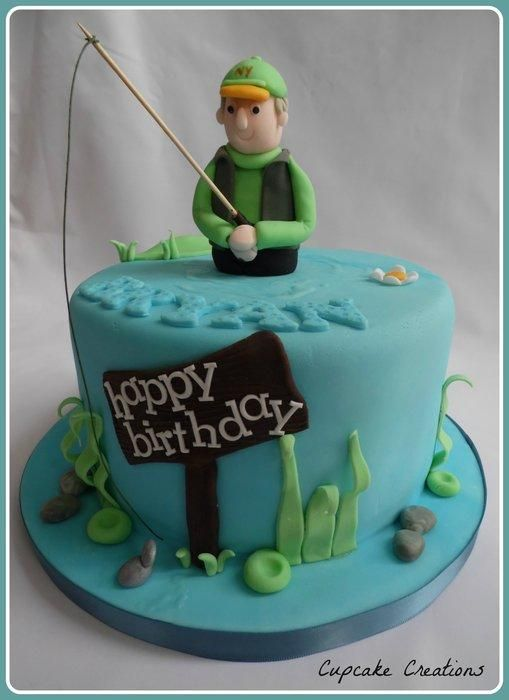 Fishing Theme Birthday Cake Chocolate Chip Chip Sponge With