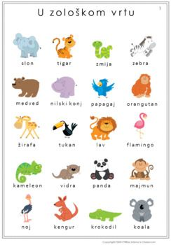 Serbian Zoo Animals Worksheets Latin Alphabet Zivotinje U Zoloskom Vrtu Serbian Language Croatian Language Serbian