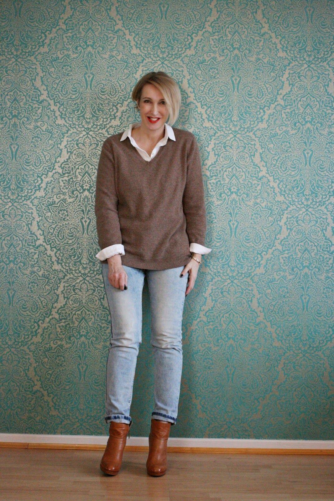 Pullover über Bluse getragen | Moda madura, Vestidos de