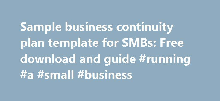 Sample business continuity plan template for SMBs Free download - business continuity plan template free download