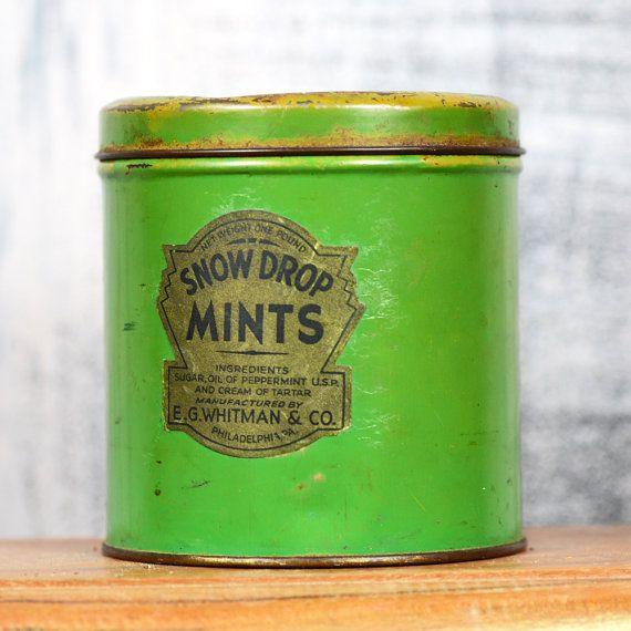 Green Tin can... Snow Drop Mints... Mint Green by CoolVintage